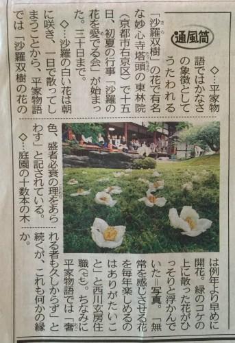 沙羅双樹の花の色。。イメージ1